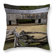 Cable Mill Barn In Cade's Cove No.122 Throw Pillow