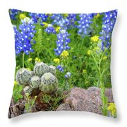 Cactus And Bluebonnets 2am-28694 Throw Pillow