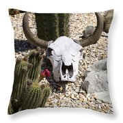Cactus And Cow Skull Throw Pillow