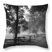 Cades Cove Tennessee In Black And White Throw Pillow