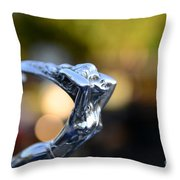 Cadillac Goddess Hood Ornament Throw Pillow