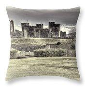 Caerphilly Castle Cream Throw Pillow