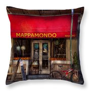 Cafe - Ny - Chelsea - Mappamondo  Throw Pillow by Mike Savad