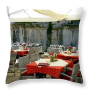 Cafe In Split Old Town Throw Pillow