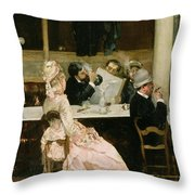 Cafe Scene In Paris Throw Pillow by Henri Gervex