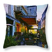 Cafe Terrace On The Place Du Forum Throw Pillow