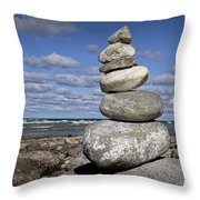 Cairn At North Point On Leelanau Peninsula In Michigan Throw Pillow