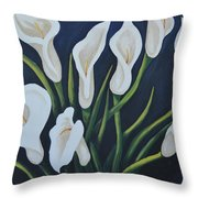 Cala Lilies Throw Pillow by Holly Donohoe