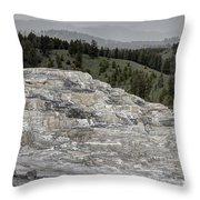 Calcite Bench - Mammoth Hot Springs Throw Pillow