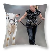Calf Competition Throw Pillow