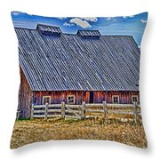Calgary Barn Hdr Throw Pillow