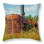 Calgary Tractor Throw Pillow