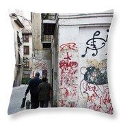 Calle Alvaro De Bazan Graffiti Throw Pillow