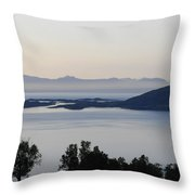Calm Sea At Sunset In A Fjord In Northern Norway Throw Pillow