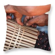 Cambodian Basket Weaver Throw Pillow