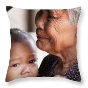 Cambodian Grandmother And Baby #1 Throw Pillow