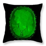 Cameo In Green Throw Pillow