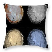 Cameo In Quad Colors Throw Pillow