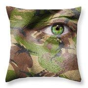 Camouflage Warrior Throw Pillow