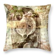 Camouflaged Bear Throw Pillow