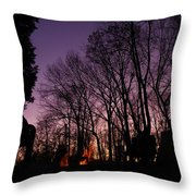 Camp Fire Sunset Throw Pillow