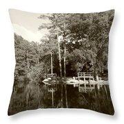 Camp Lake Throw Pillow
