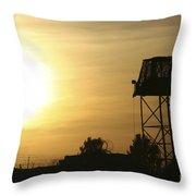 Camp Warhorse Guard Tower At Sunset Throw Pillow