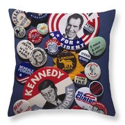 Campaign Buttons Throw Pillow