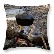 Campfire Cooking Throw Pillow by David Lee Thompson