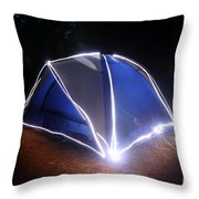 Camping Throw Pillow by Ted Kinsman