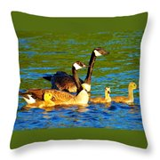 Canada Geese Family Throw Pillow by Paul Ge