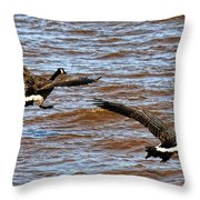 Canada Geese In Flight Lake Superior Throw Pillow