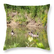 Canada Geese On Pond Throw Pillow
