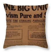 Canada: One Big Union, 1919 Throw Pillow
