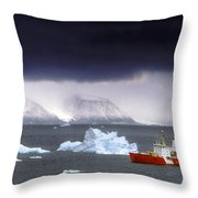 Canadian Coastguard Icebreaker Visiting Throw Pillow
