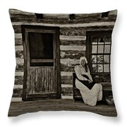 Canadian Gothic Sepia Throw Pillow