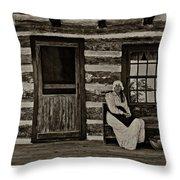 Canadian Gothic Sepia Throw Pillow