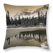 Canadian Rocky Mountains Dusted In Snow Throw Pillow