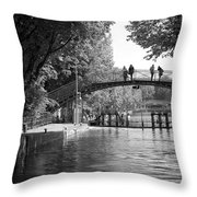 Canal Of St. Martin Bw Throw Pillow