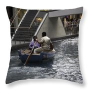 Canal Running Through The Length Of The Shoppes Running Under Th Throw Pillow