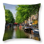 Canal Scene In Amsterdam Throw Pillow