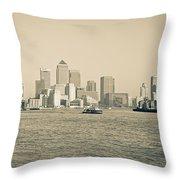 Canary Wharf Cityscape Throw Pillow