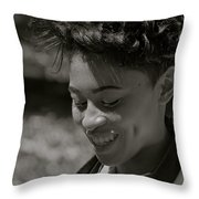 Candid Smile Throw Pillow