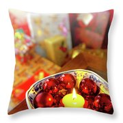 Candle And Balls Throw Pillow by Carlos Caetano