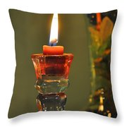 Candle And Colored Glass Throw Pillow