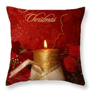 Candle Light Christmas Card Throw Pillow