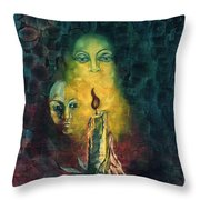 Candle Light Mother Child Faces In Yellow Candle Light Blue Red Background  Throw Pillow