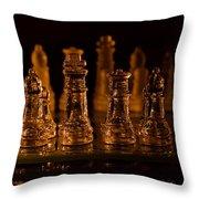 Candle Lit Chess Men Throw Pillow