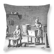 Candlemaking, 18th Century Throw Pillow