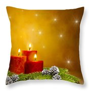 Candles Decorated Branches Of A Pine Tree And Fir Cones Throw Pillow